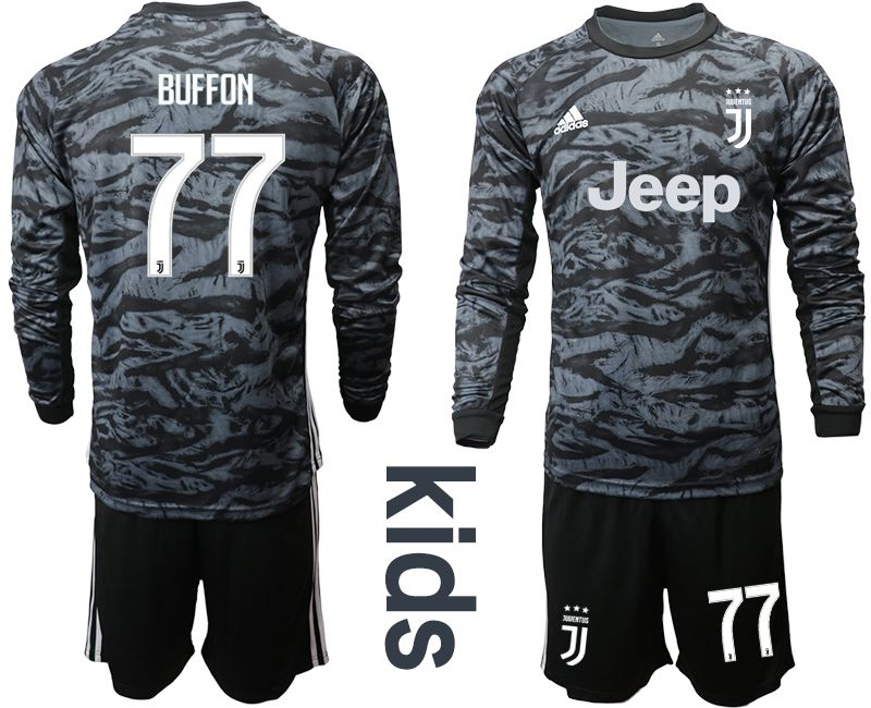 Youth 2019-2020 club Juventus black long sleeve goalkeeper 77 Soccer Jerseys