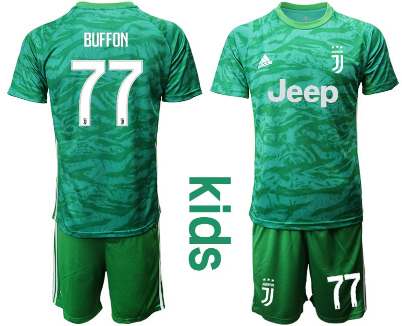 Youth 2019-2020 club Juventus green goalkeeper 77 Soccer Jerseys