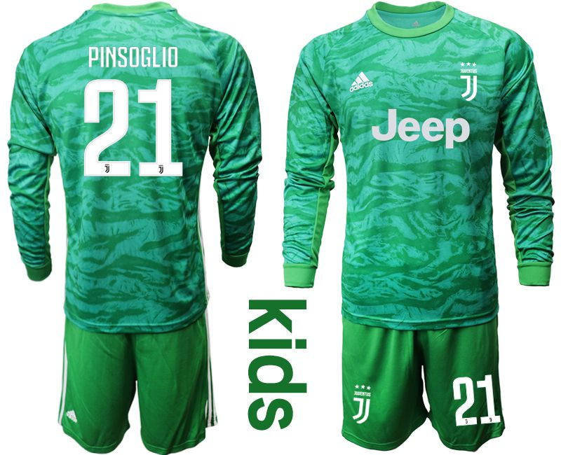 Youth 2019-2020 club Juventus green goalkeeper long sleeve 21 Soccer Jerseys