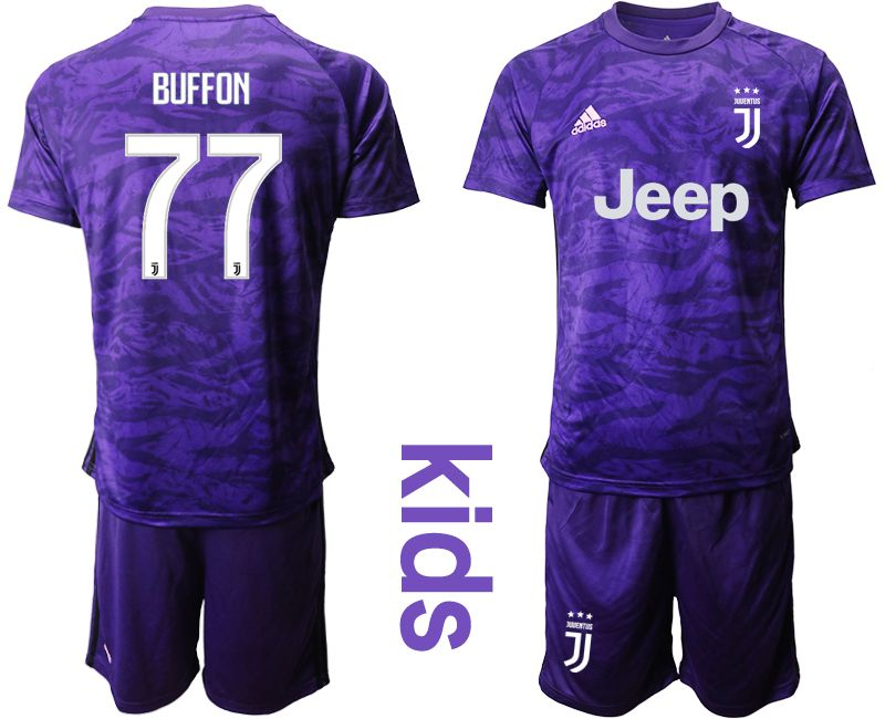 Youth 2019-2020 club Juventus purple goalkeeper 77 Soccer Jerseys