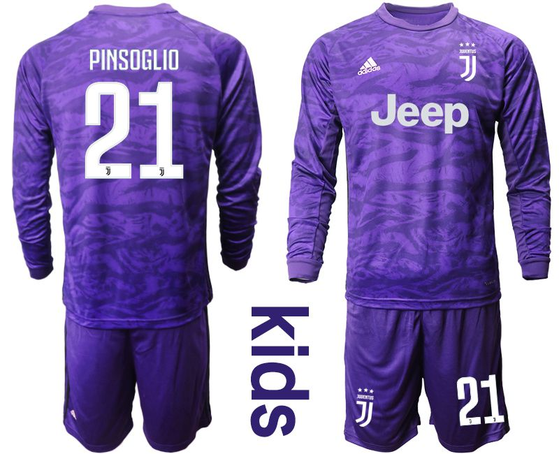 Youth 2019-2020 club Juventus purple long sleeved Goalkeeper 21 Soccer Jerseys