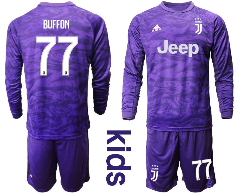 Youth 2019-2020 club Juventus purple long sleeved Goalkeeper 77 Soccer Jerseys