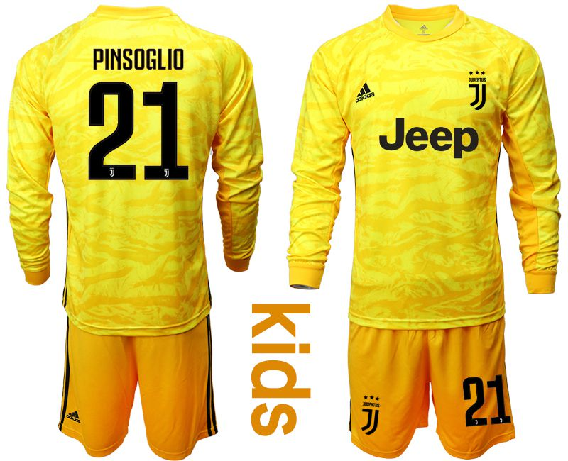 Youth 2019-2020 club Juventus yellow goalkeeper long sleeve 21 Soccer Jerseys