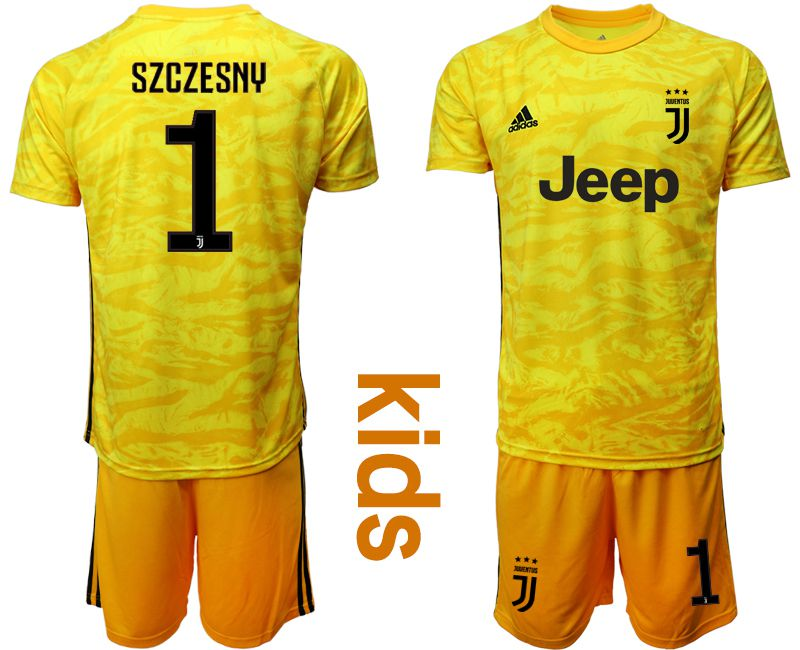 Youth 2019-2020 club Juventus yellow goalkeeper 1 Soccer Jerseys