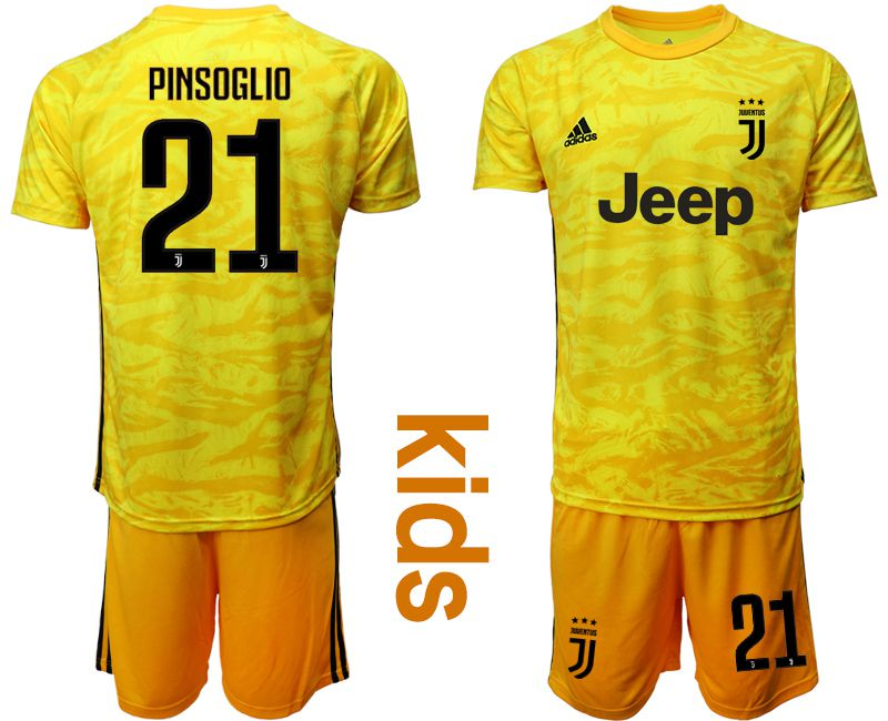 Youth 2019-2020 club Juventus yellow goalkeeper 21 Soccer Jerseys