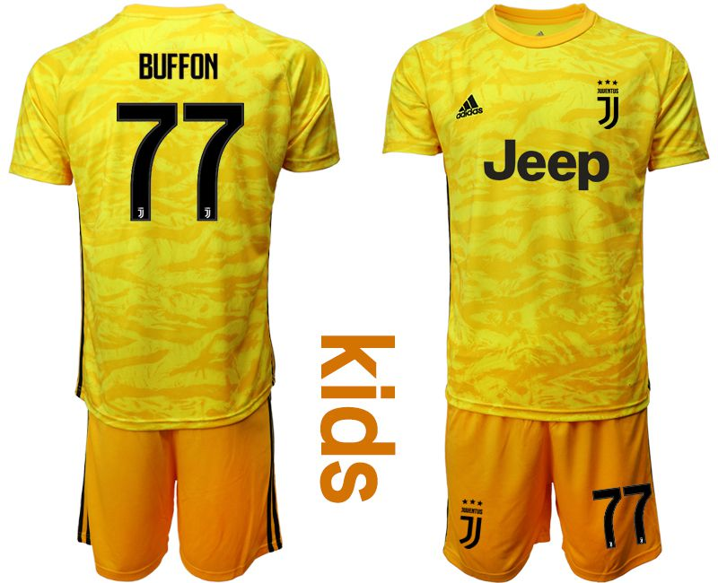 Youth 2019-2020 club Juventus yellow goalkeeper 77 Soccer Jerseys