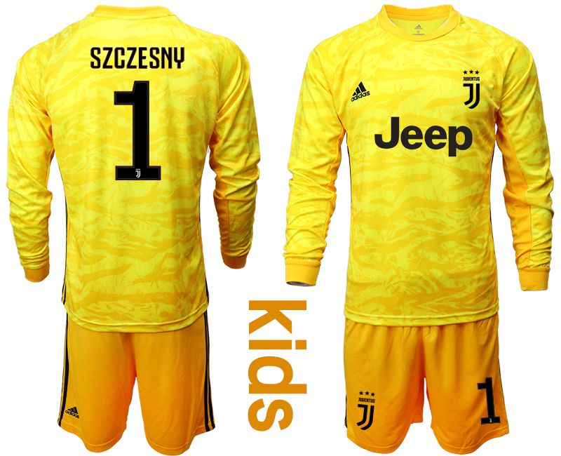 Youth 2019-2020 club Juventus yellow goalkeeper long sleeve 1 Soccer Jerseys