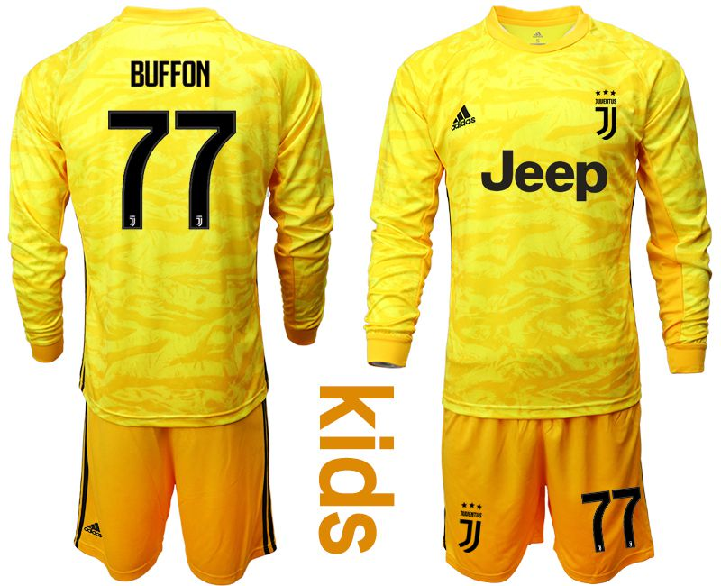 Youth 2019-2020 club Juventus yellow goalkeeper long sleeve 77 Soccer Jerseys