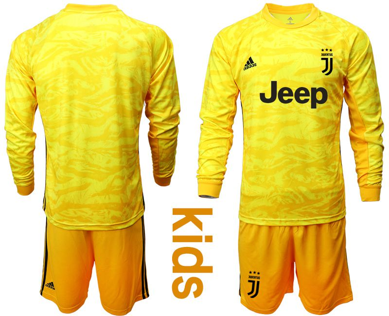 Youth 2019-2020 club Juventus yellow goalkeeper long sleeve Soccer Jerseys