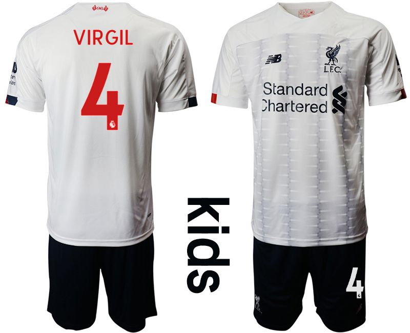 Youth 2019-2020 club Liverpool away 4 white Soccer Jerseys