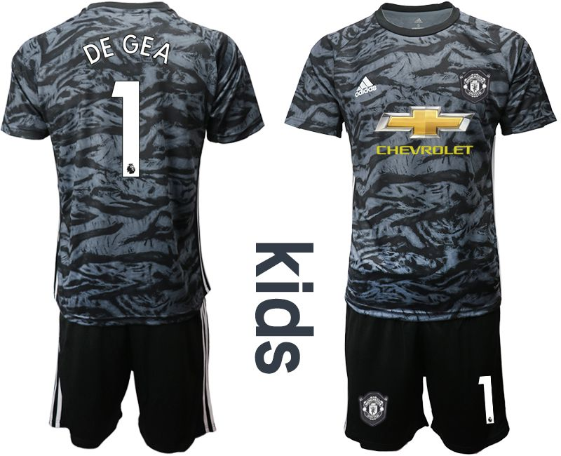 Youth 2019-2020 club Manchester United black goalkeeper 1 Soccer Jerseys