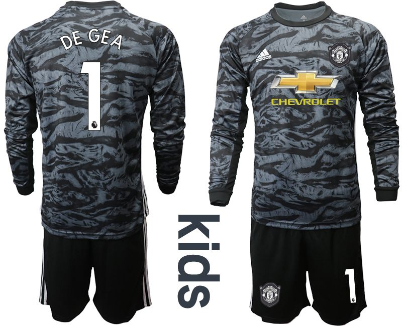 Youth 2019-2020 club Manchester United black long sleeve goalkeeper 1 Soccer Jerseys