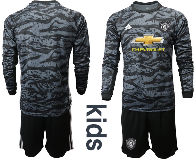 Youth 2019-2020 club Manchester United black long sleeve goalkeeper Soccer Jerseys