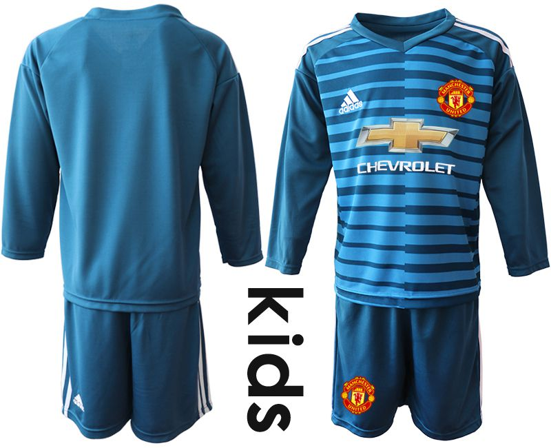 Youth 2019-2020 club Manchester United blue long sleeve goalkeeper Soccer Jerseys