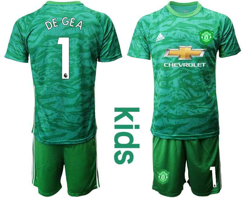 Youth 2019-2020 club Manchester United green goalkeeper 1 Soccer Jerseys
