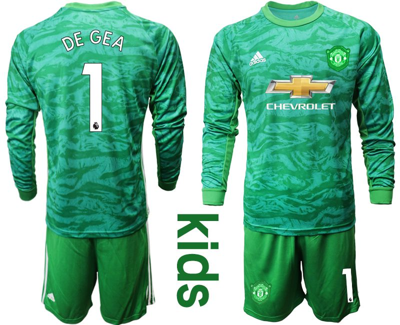 Youth 2019-2020 club Manchester United green goalkeeper long sleeve 1 Soccer Jerseys