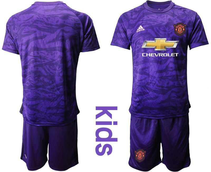 Youth 2019-2020 club Manchester United purple goalkeeper Soccer Jerseys
