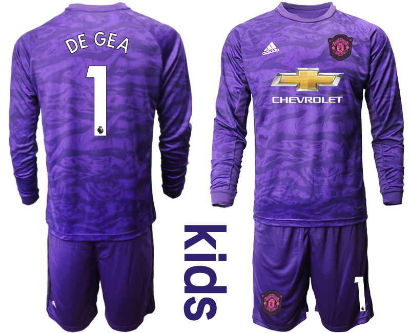 Youth 2019-2020 club Manchester United purple long sleeved Goalkeeper 1 Soccer Jerseys