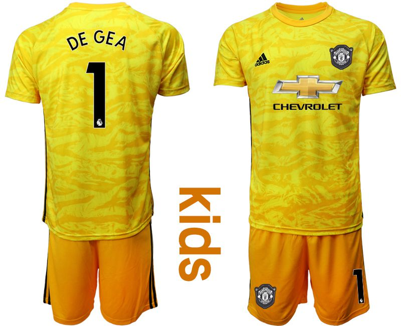 Youth 2019-2020 club Manchester United yellow goalkeeper 1 Soccer Jerseys