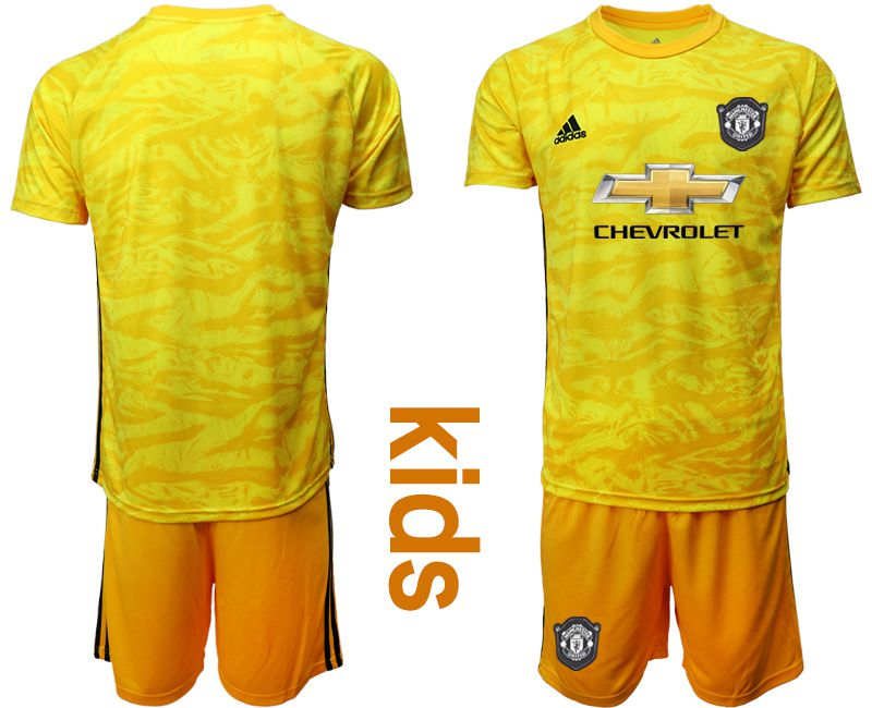 Youth 2019-2020 club Manchester United yellow goalkeeper Soccer Jerseys
