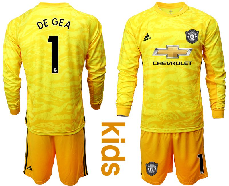 Youth 2019-2020 club Manchester United yellow goalkeeper long sleeve 1 Soccer Jerseys
