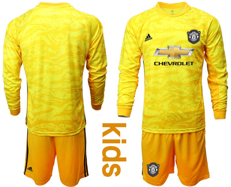 Youth 2019-2020 club Manchester United yellow goalkeeper long sleeve Soccer Jerseys