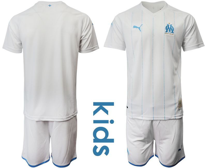 Youth 2019-2020 club Olympique de Marseille home white Soccer Jerseys