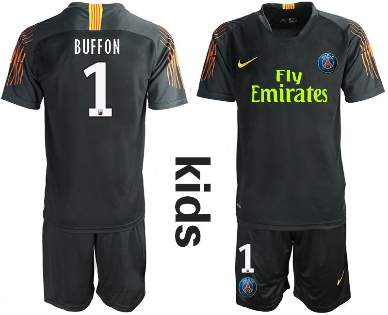 Youth 2019-2020 club Paris Saint Germain black goalkeeper 1 Soccer Jerseys