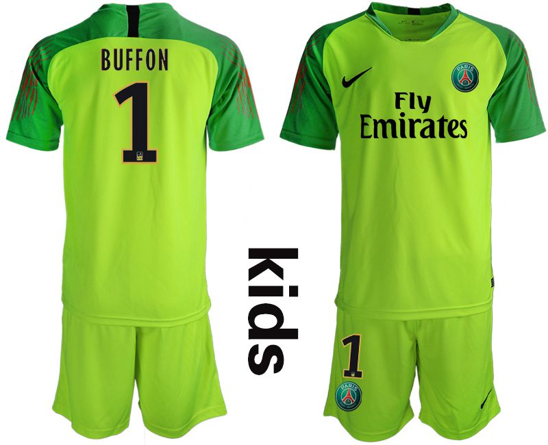 Youth 2019-2020 club Paris Saint Germain fluorescent green goalkeeper 1 Soccer Jerseys1