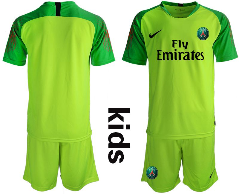 Youth 2019-2020 club Paris Saint Germain fluorescent green goalkeeper Soccer Jerseys