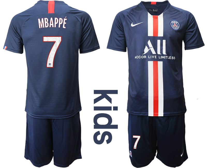 Youth 2019-2020 club Paris Saint Germain home 7 blue Soccer Jerseys