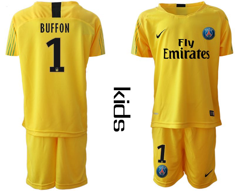 Youth 2019-2020 club Paris Saint Germain yellow goalkeeper 1 Soccer Jerseys