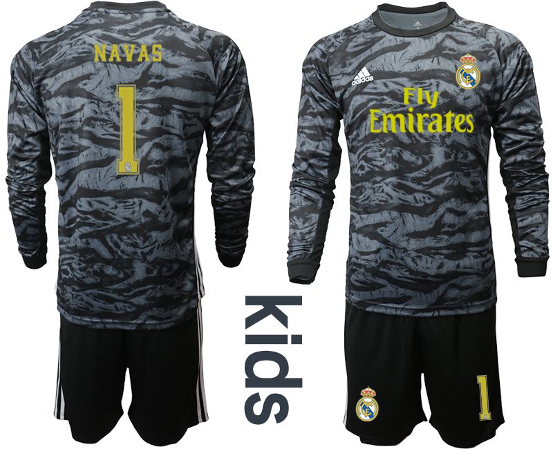 Youth 2019-2020 club Real Madrid black long sleeve goalkeeper 1 Soccer Jerseys