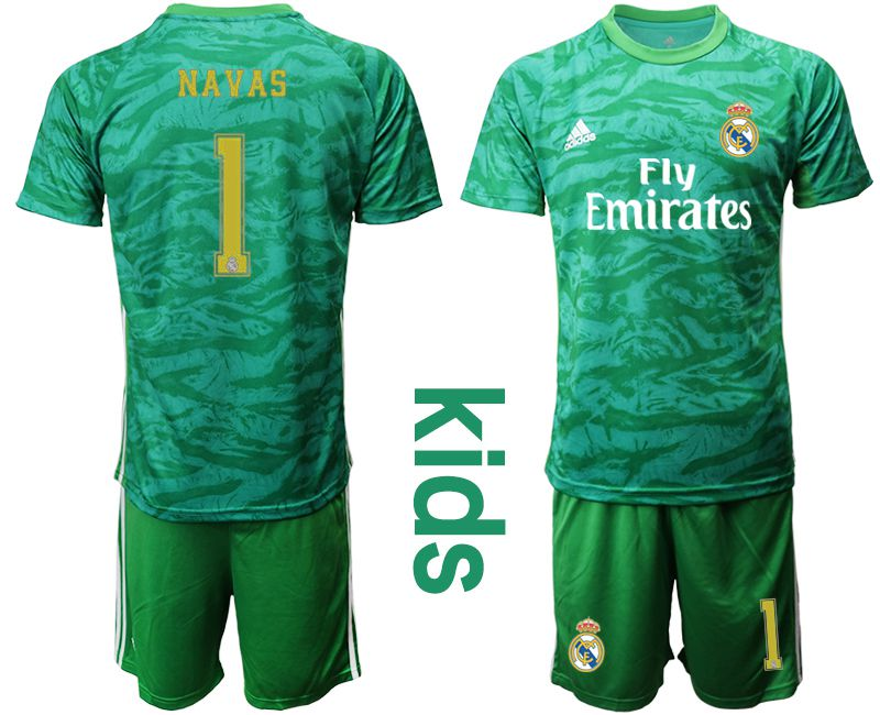 Youth 2019-2020 club Real Madrid green goalkeeper 1 Soccer Jerseys
