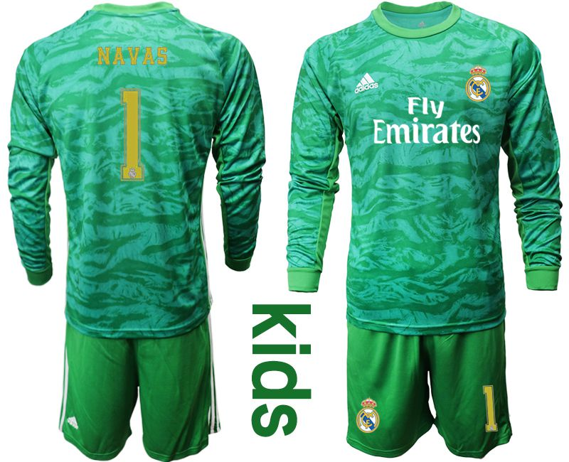 Youth 2019-2020 club Real Madrid green goalkeeper long sleeve 1 Soccer Jerseys