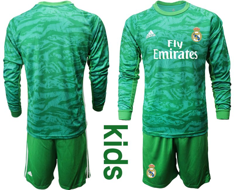 Youth 2019-2020 club Real Madrid green goalkeeper long sleeve Soccer Jerseys