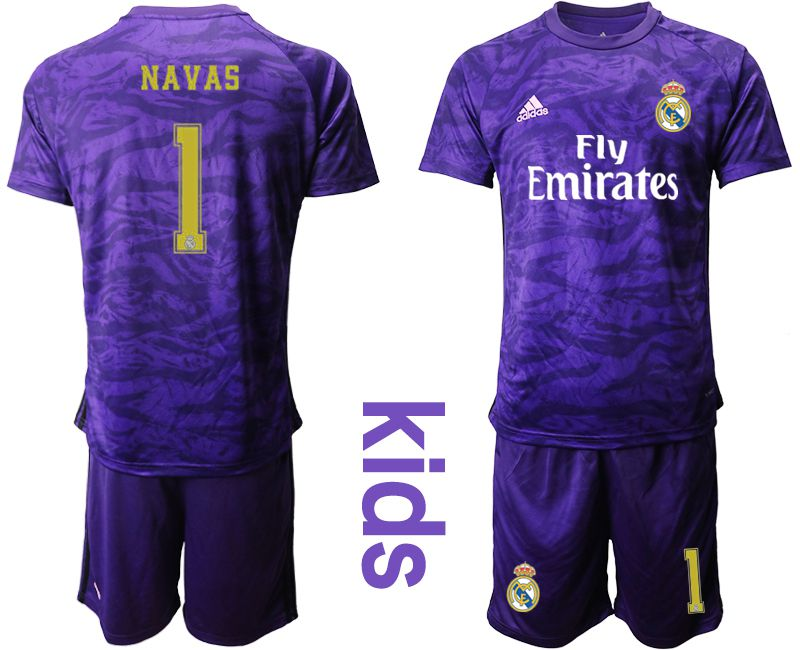 Youth 2019-2020 club Real Madrid purple Goalkeeper 1 Soccer Jerseys