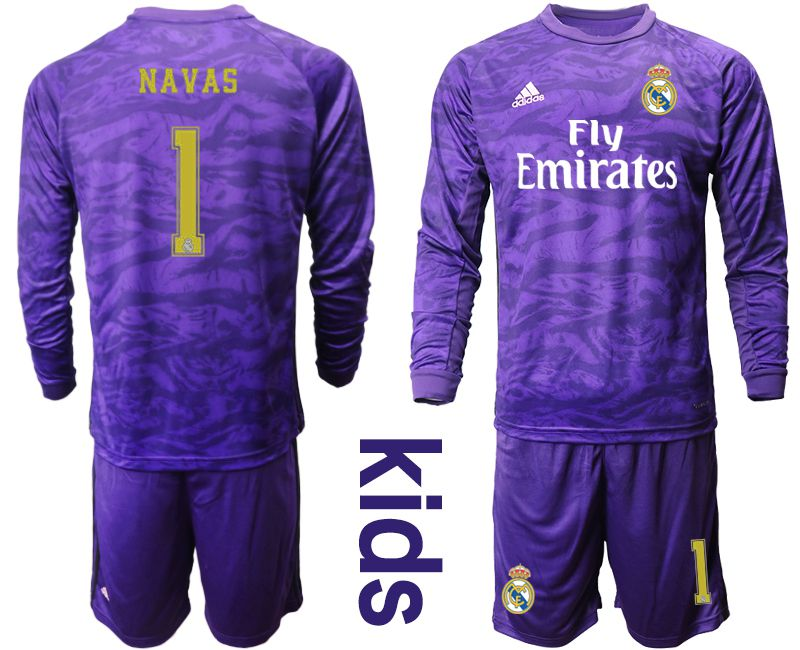 Youth 2019-2020 club Real Madrid purple long sleeved Goalkeeper 1 Soccer Jerseys