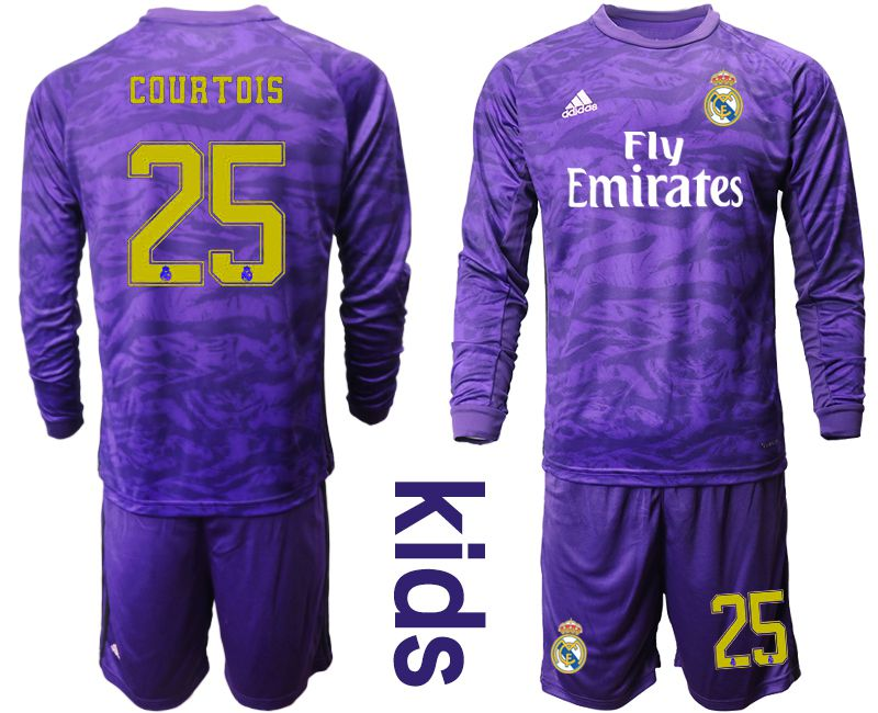 Youth 2019-2020 club Real Madrid purple long sleeved Goalkeeper 25 Soccer Jerseys