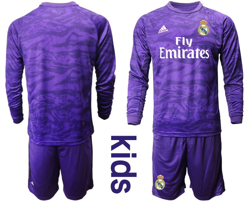 Youth 2019-2020 club Real Madrid purple long sleeved Goalkeeper Soccer Jerseys