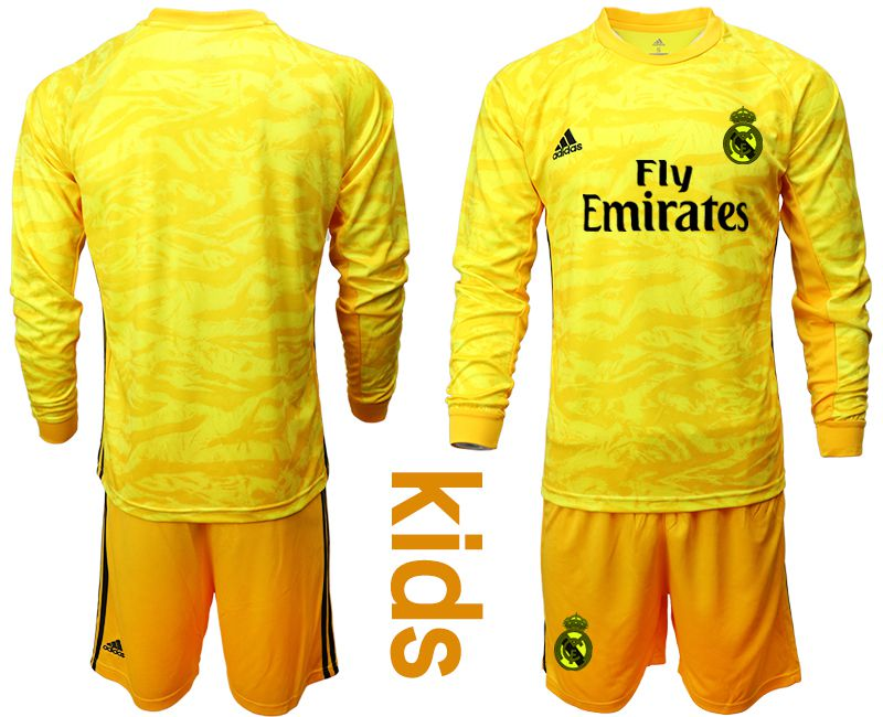 Youth 2019-2020 club Real Madrid yellow goalkeepe long sleeve Soccer Jerseys