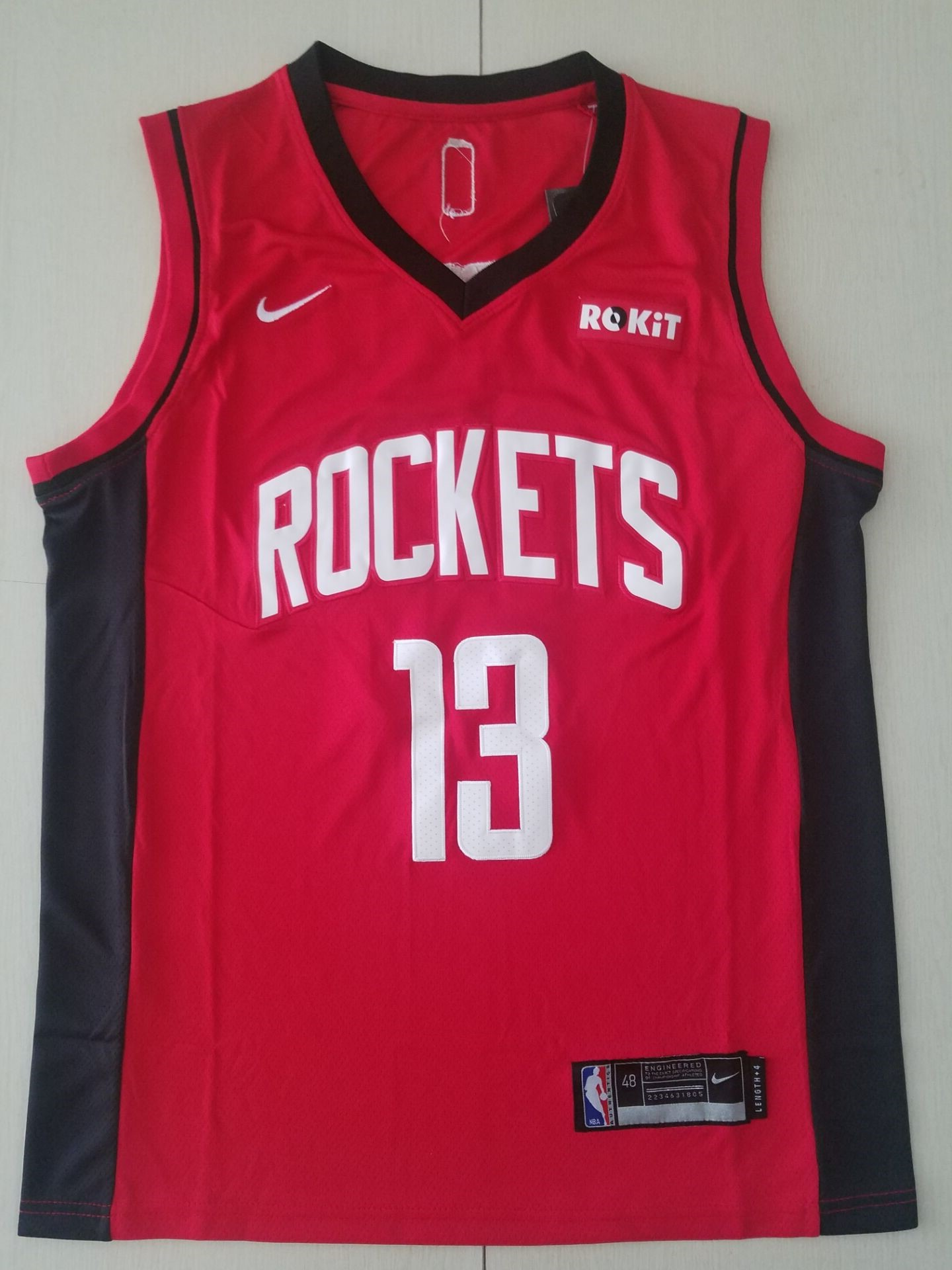 Youth Houston Rockets 13 Harden Red Game Nike NBA Jerseys 3