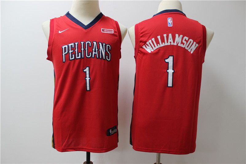 Youth New Orleans Pelicans 1 Williamson red Game Nike NBA Jerseys