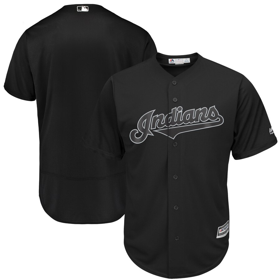 customized Men Cleveland Indians blank black MLB Jerseys