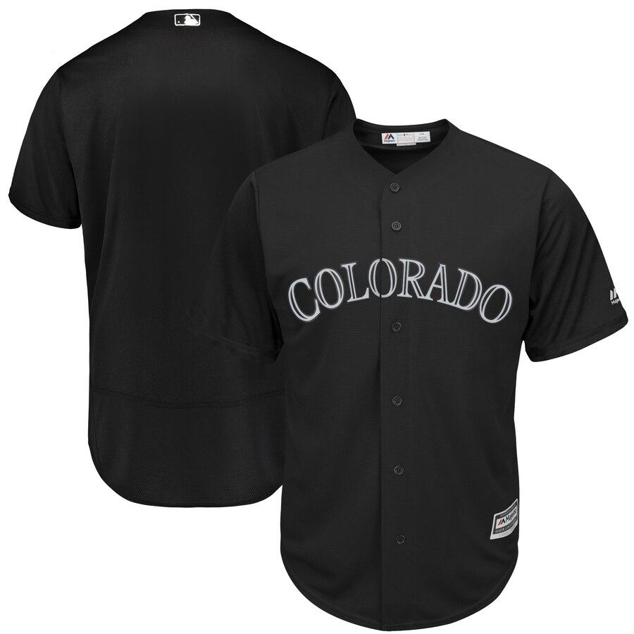 customzied Men Colorado Rockies blank Black MLB Jerseys