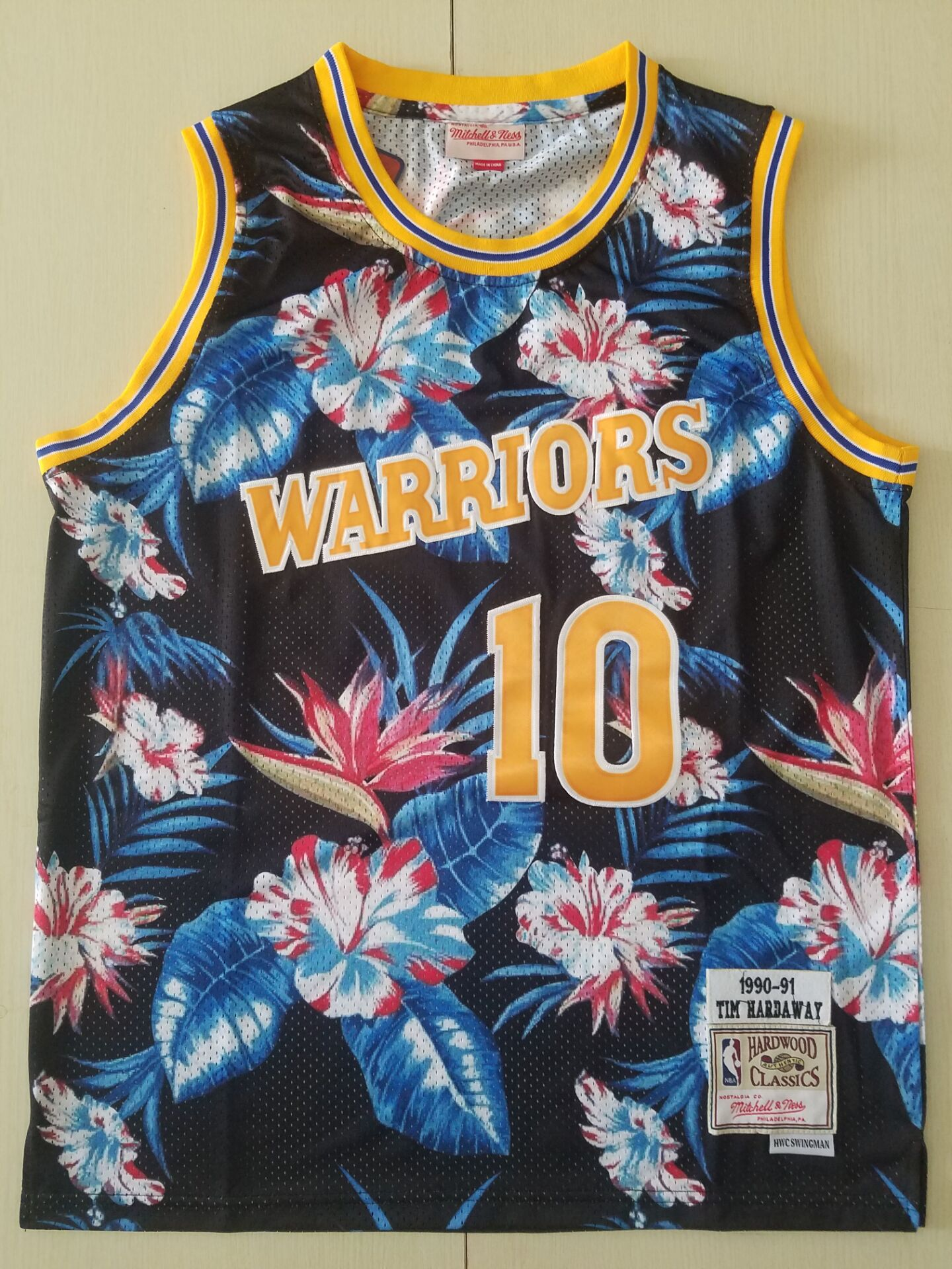 youth NBA Nike Golden State Warriors 10 Hardaway black Ness Floral Fashion jersey