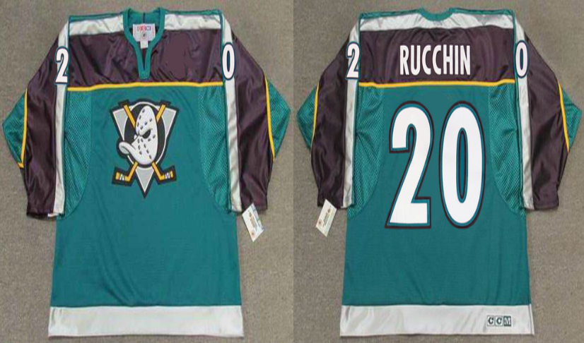 2019 Men Anaheim Ducks 20 Rucchin green CCM NHL jerseys