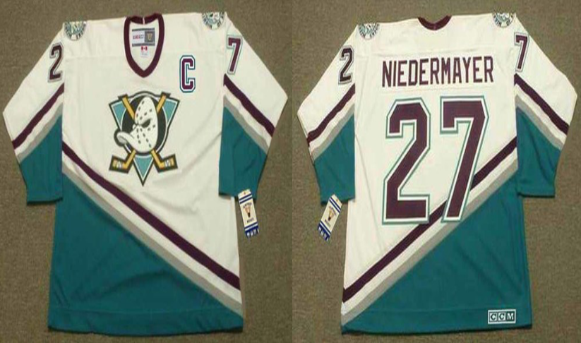 2019 Men Anaheim Ducks 27 Niedermayer white CCM NHL jerseys