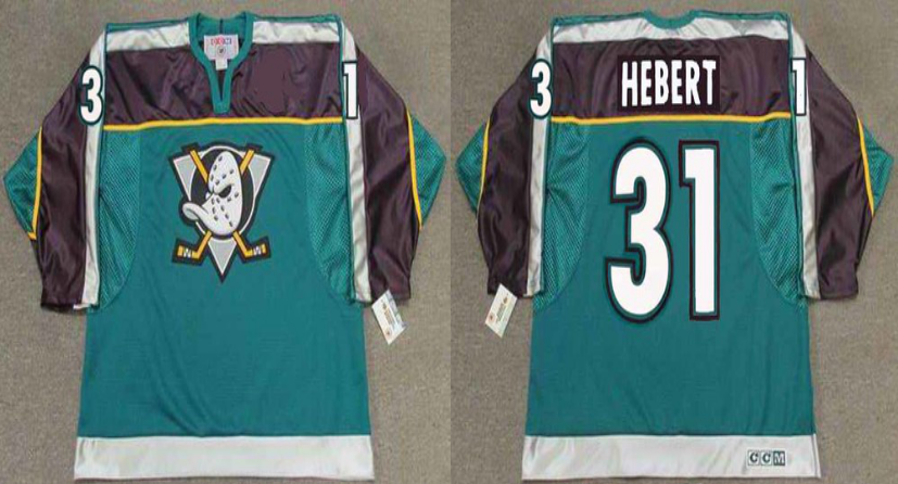2019 Men Anaheim Ducks 31 Hebert green CCM NHL jerseys