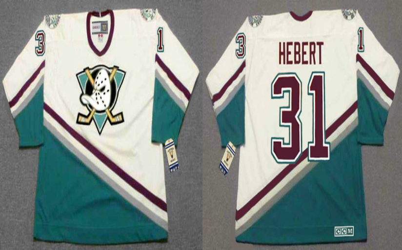 2019 Men Anaheim Ducks 31 Hebert white CCM NHL jerseys